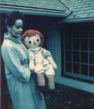 Lorraine Warren holding Annabelle